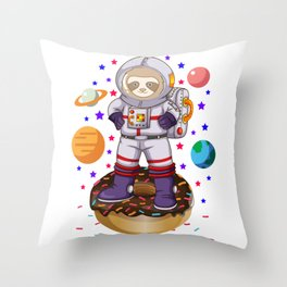 Space Sloth Astronaut Galaxy Planet Donut Candy Throw Pillow