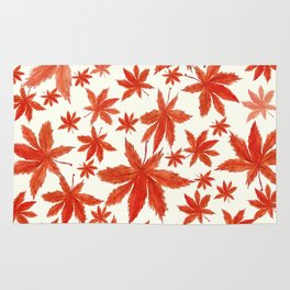 red maple leaves pattern Rug