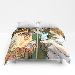 "Alphonse Mucha ""Primrose and Feather"" Comforters"