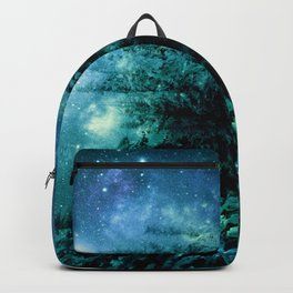 Galaxy Winter Forest Blue Teal Backpack