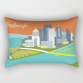 Pittsburgh, Pennsylvania - Skyline Illustration by Loose Petals Rectangular Pillow