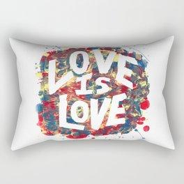 Love Is Love Rainbow Splatter Rectangular Pillow