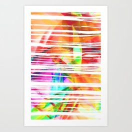 Neon Sunset Glitch Neon Art Print