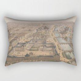 Vintage Paris & The Louvre Palace Map (1879) Rectangular Pillow