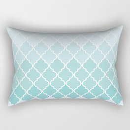 Ombre Moroccan Trellis, Latticework - Blue White Rectangular Pillow