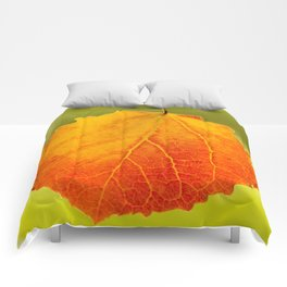Orange Leaf Vivid Green Background #decor #society6 #buyart Comforters
