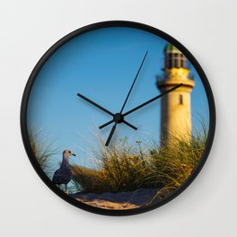 Old lighthouse from Hanseatic city of Rostock Wall Clock
