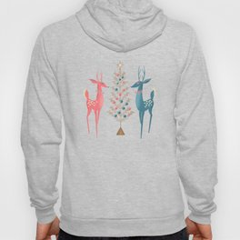 Midcentury Pink And Aqua Holiday At The North Pole Hoody