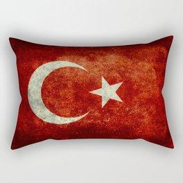 National flag of Turkey, Vintage textured Rectangular Pillow