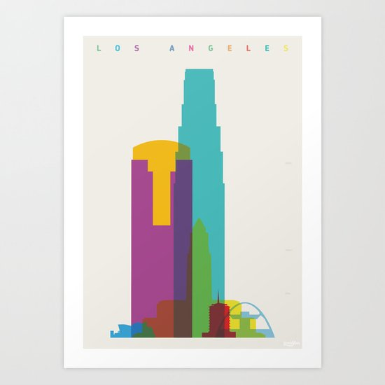 Shapes of Los Angeles accurate to scale Art Print