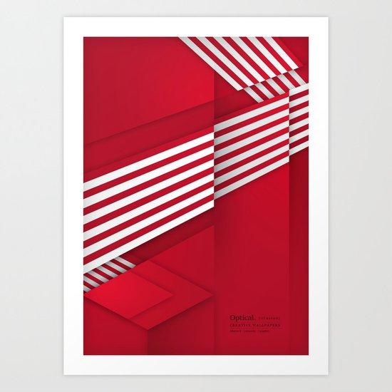 Optical illusion_red Art Print
