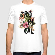Tropical I SMALL White Mens Fitted Tee