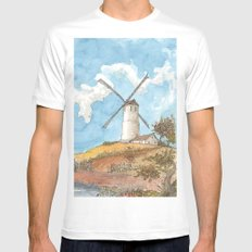 Windmill Against a Blue Sky Mens Fitted Tee White MEDIUM