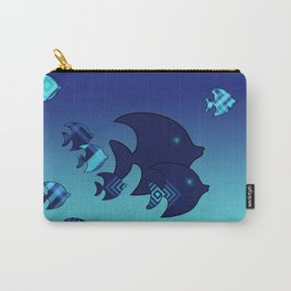 Nine Blue Fish with Patterns Carry-All Pouch