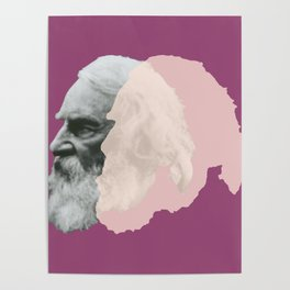 Henry Wadsworth Longfellow - portrait purple and white Poster