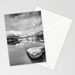 Frozen lake. Winter landscape. Mountain scenery Stationery Cards
