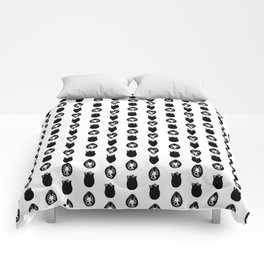 Alien Eggs Pattern White and Black Comforters
