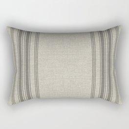 Farmhouse linen grey rustic grain sack texture vintage farmhouse lined linen design modern rustic Rectangular Pillow