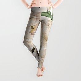 Peonies Pattern Leggings