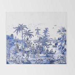 Chinoiserie Blue Landscape Throw Blanket