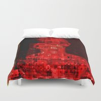 code Duvet Covers featuring Red code by Jean-François Dupuis
