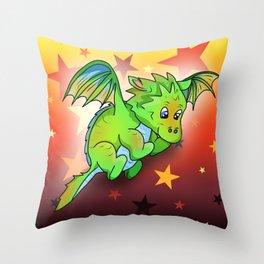 Happy green cartoon baby dragon with stars Throw Pillow