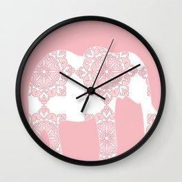 Animals Illustration - Pink Damask Elephant Wall Clock