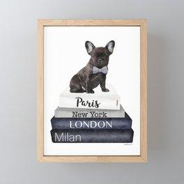 Frenchie, french, bulldog, Black, Fashion books, Fashion illustration, Fashion, wall art Framed Mini Art Print