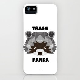 Trash Panda, black and white cartoon cute retro raccoon face iPhone Case