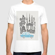 Berlin Cityscape MEDIUM Mens Fitted Tee White