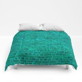 Day-Glo Neon Aqua Blue Brick Wall Comforters