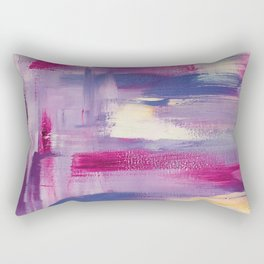 Dramatic sunset: minimal, acrylic abstract painting in purple, magenta and violet / Variation Three Rectangular Pillow