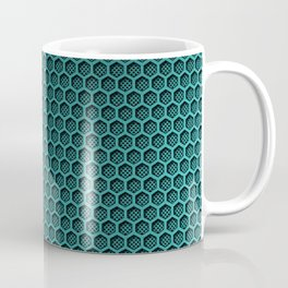 Metallic Aqua Graphite Honeycomb Carbon Fiber Coffee Mug