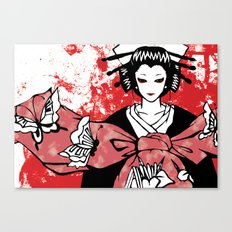 GEISHA - Japan | Vector | Manga | Blood | Kimono | Butterfly | Kabuki | Anime | Vector Canvas Print