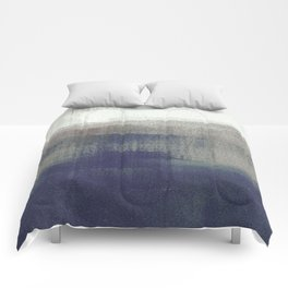 Navy Blue and Grey Minimalist Abstract Landscape Comforters