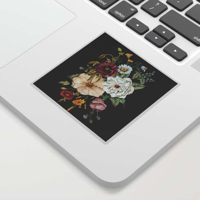 Colorful Wildflower Bouquet on Charcoal Black Sticker