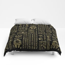 Egyptian hieroglyphs and deities gold on black Comforters