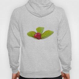 Single ripe strawberry fruit lying on leaf Hoody