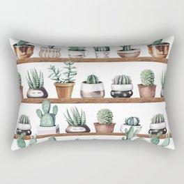 Cactus Shelf Rose Gold Green Rectangular Pillow