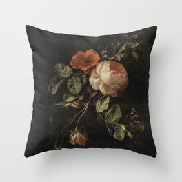 Elias van den Broeck - Still life with roses - 1670-1708 Throw Pillow