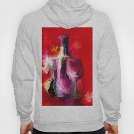 Fun Colorful Modern Wine Art (wine bottle & glasses) #society6 #wine Hoody