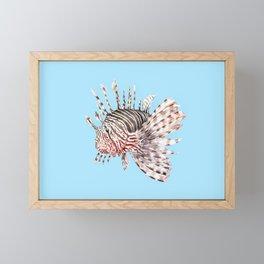 Watercolor Lionfish Tropical Fish Marine Life Painting Framed Mini Art Print