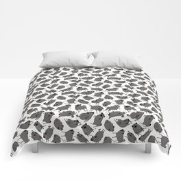 Peppy Black Pug pattern - black and white Comforters