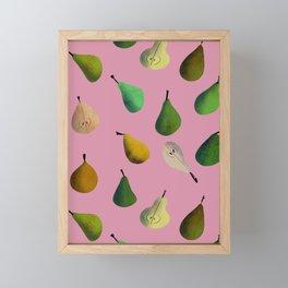 Pears pattern in pink background Framed Mini Art Print