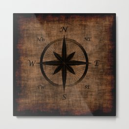 Nostalgic Old Compass Rose Metal Print