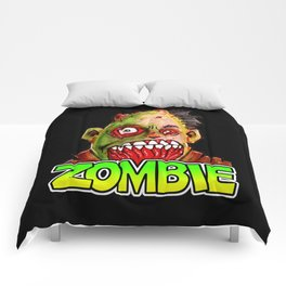 ZOMBIE title with zombie head Comforters