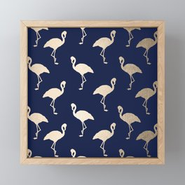 Gold Flamingo Pattern Navy Blue Framed Mini Art Print