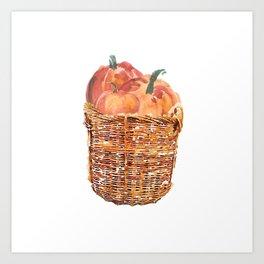Autumn Basket of Pumpkins Art Print