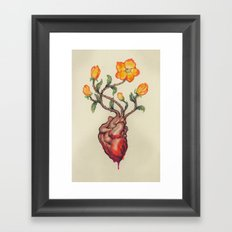 THIS BLEEDING BLOSSOMING HEART: ORANGE WILD ROSE Framed Art Print