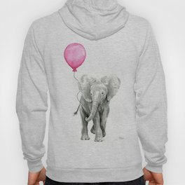 Baby Elephant with Pink Balloon Hoody
